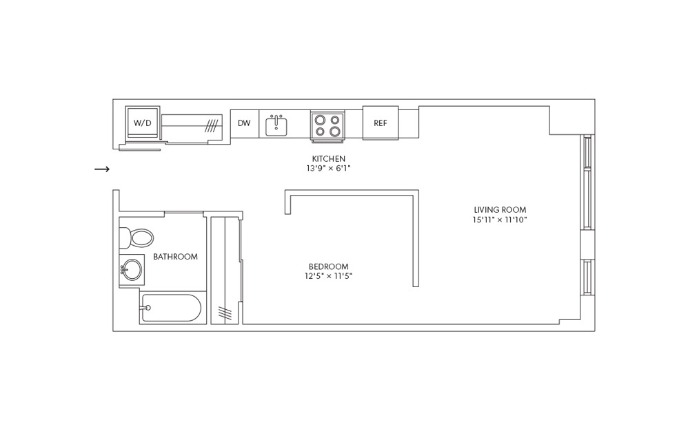 A3L - 1 bedroom floorplan layout with 1 bath and 584 square feet.