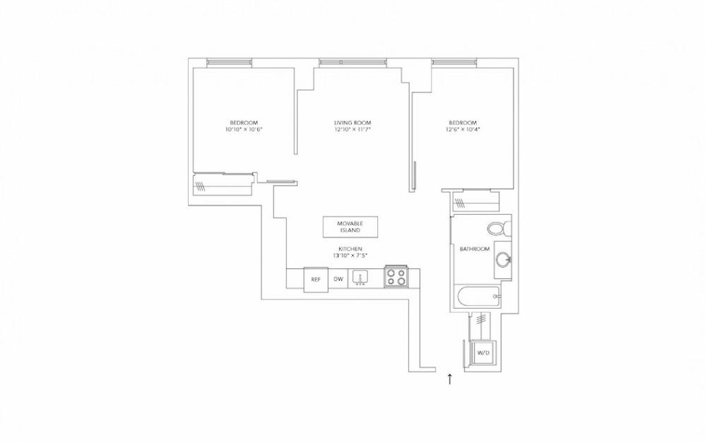 B11 2 Bedroom 2 Bath Floorplan