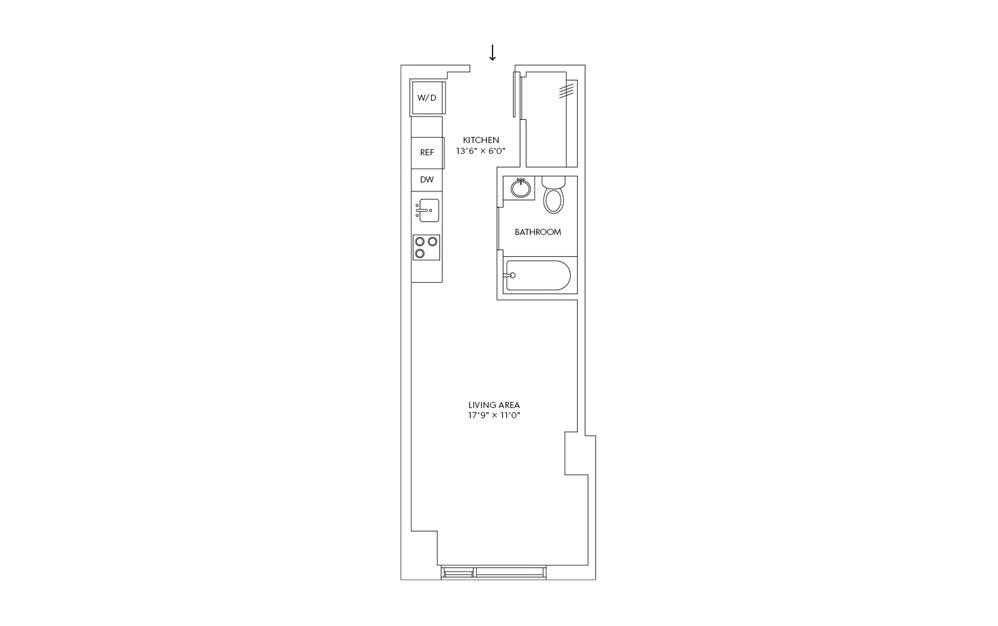 E10 - Studio floorplan layout with 1 bath and 397 square feet.