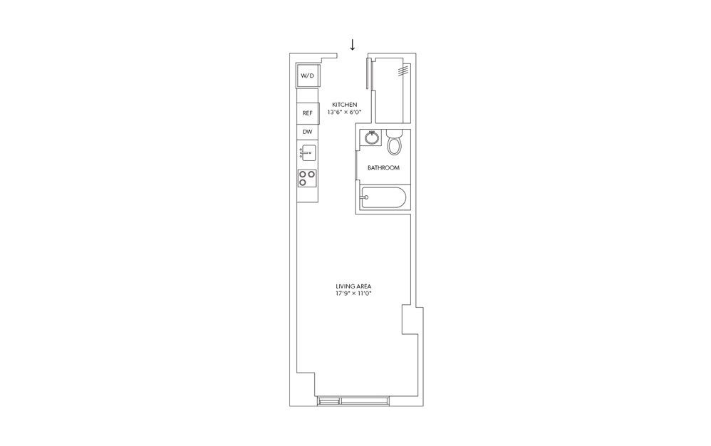 E11 - Studio floorplan layout with 1 bath and 399 square feet.