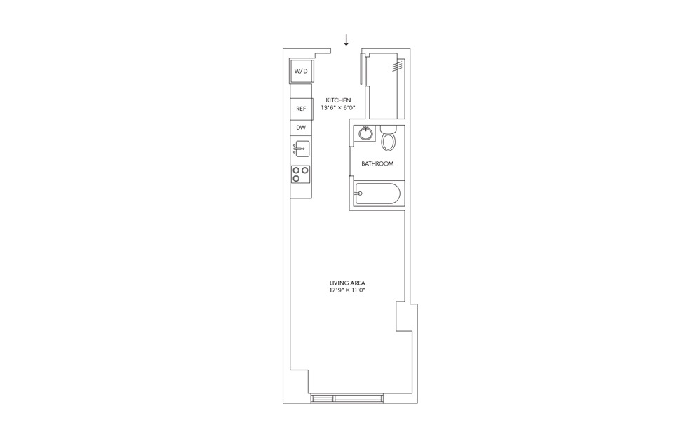 E13 - Studio floorplan layout with 1 bath and 400 square feet.