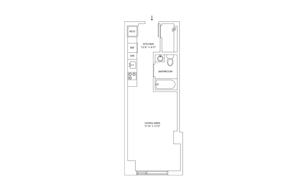 E15 - Studio floorplan layout with 1 bath and 405 square feet.