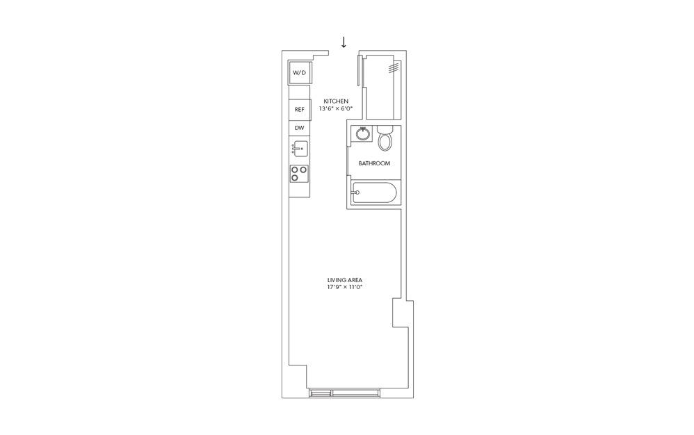 E18 - Studio floorplan layout with 1 bath and 419 square feet.