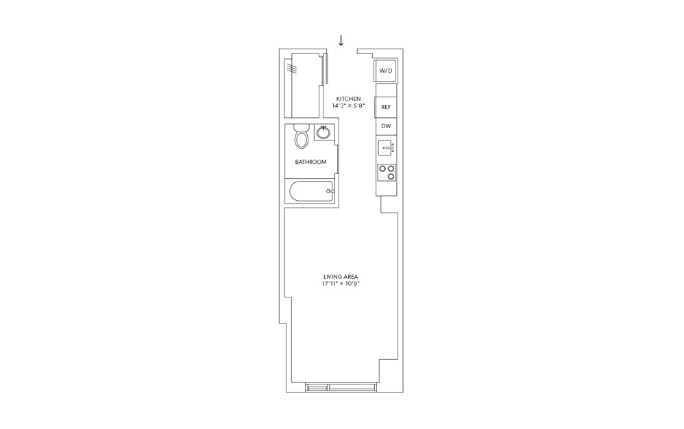 E2 - Studio floorplan layout with 1 bath and 384 square feet.