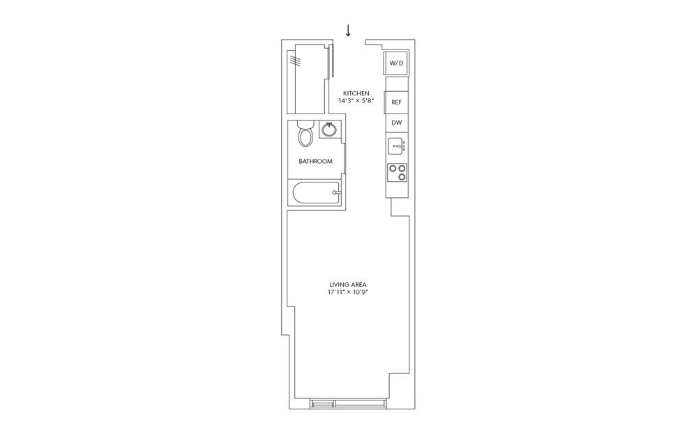 E3 - Studio floorplan layout with 1 bath and 386 square feet.
