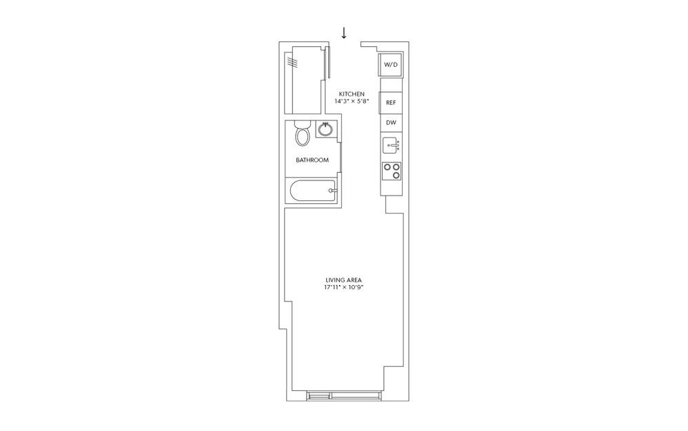 E4 - Studio floorplan layout with 1 bath and 388 square feet.