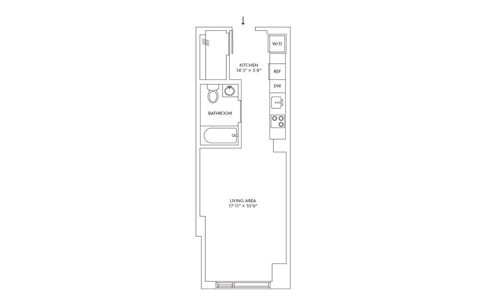 E7 - Studio floorplan layout with 1 bath and 393 square feet.