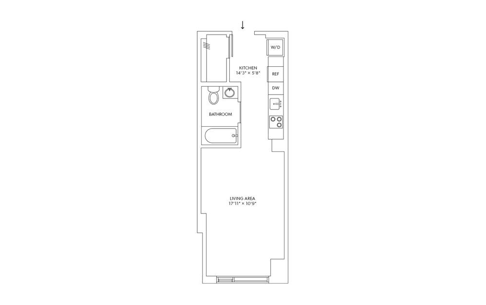 E8 - Studio floorplan layout with 1 bath and 384 square feet.