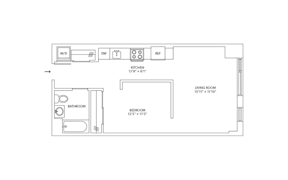 A1L - 1 bedroom floorplan layout with 1 bath and 578 square feet.